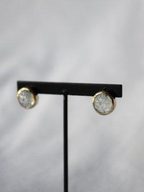 round carving stone studs pierce 〜green amethyst 〜(イヤリング取替可能)