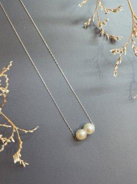 K18WG  gray twin akoya pearl  necklace