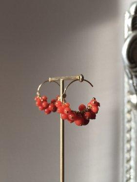 K10 red coral fringe hoop pierce ( 1.5cm)