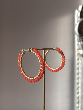 deep red coral  BIG hoop pierce (2,5cm)