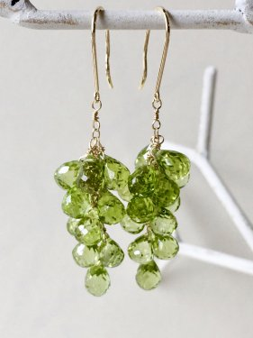 K18 peridot fringe long pierce(イヤリング制作可能)