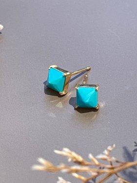 K18  CUBE pierce �( turquoise)