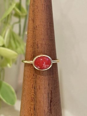 K18 red coral  oval ring