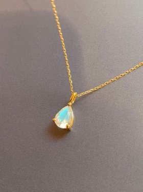 【1点物】K18 rainbow moonstone pendant top (BLUE)