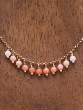 pink&white coral gradation necklace