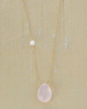 white coral & rose quartz necklace