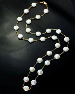 coin pearl long necklace