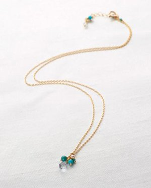 turquoise&aquamarine petit necklace
