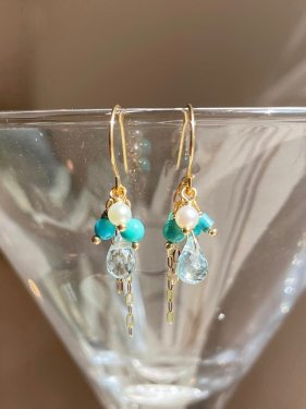 turquoise&bluetopaz petit pierced earrings