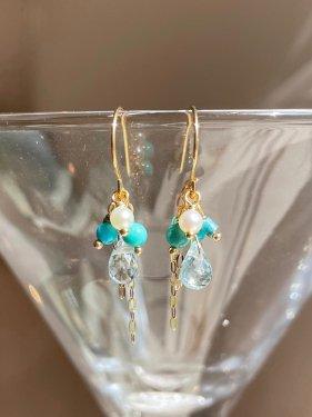 turquoise&aquamarine petit pierce(イヤリング取替可能)