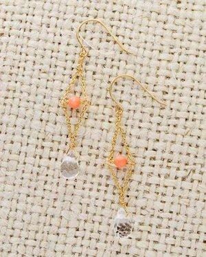 【ラスト1点・CM衣装】K10 pink coral & quartz lace pierce  ~イヤリング取替可能~