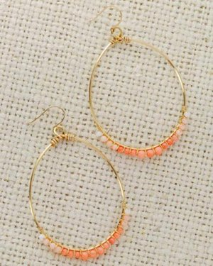 pink&white coral gradation hoop pierce ~イヤリング取替無料~