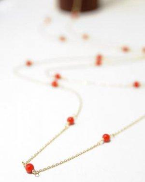 【ラスト1点】K10  red coral long necklace