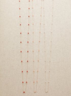 【CM着用】pink coral long necklace