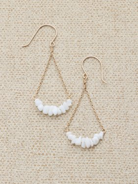 white coral UMAMUI  fan pierced earrings