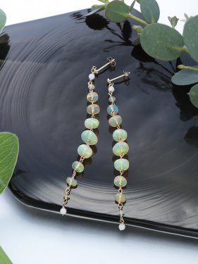 white coral &opal long pierced earrings