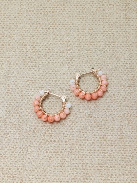 pink&white coral gradation petithoop pierced earrings