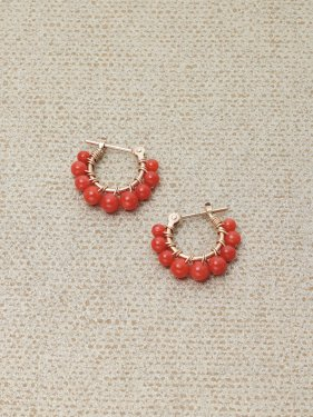 red coral petithoop pierced earrings