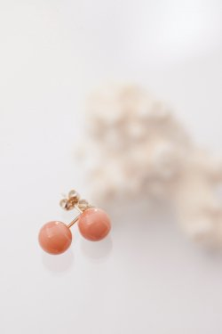 pink coral pierced earrings(7.5〜8mm)