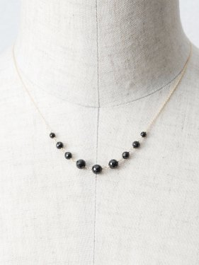 K18 black spinel chian short necklace