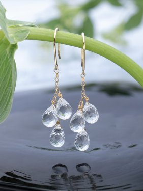 K18 quartz three drop pierced earrings