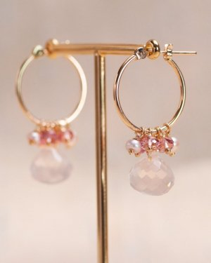Rose quartz hoop pierce  〜fee dans la jardin妖精の踊る庭〜