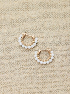 white coral petithoop pierced earrings