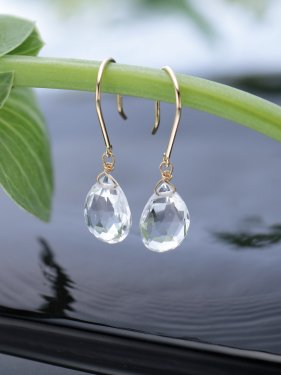 K18 quartz drop pierced earrings