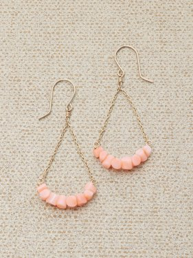 pink coral UMAMUI fan pierced earrings