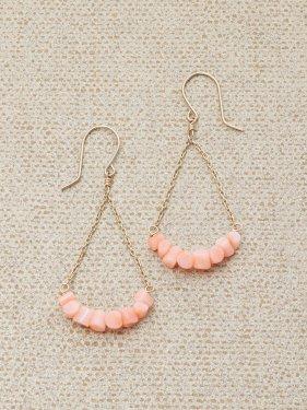 【雑誌掲載】K10 pink coral UMAMUI fan shape pierce ~イヤリング取替可能~