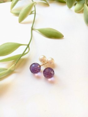 amethyst��pierced earrings����K18)
