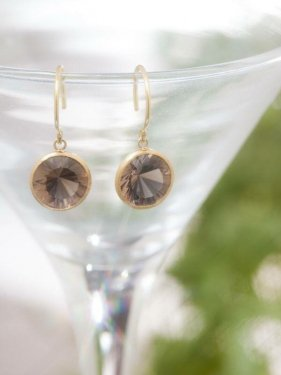 K18 round smoky quartz pierced earrings