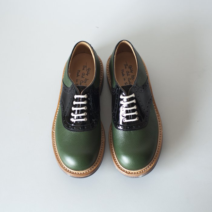 Quilp Shoes / M7607 Saddle Shoe / Green Scotch Grain x Black Patent