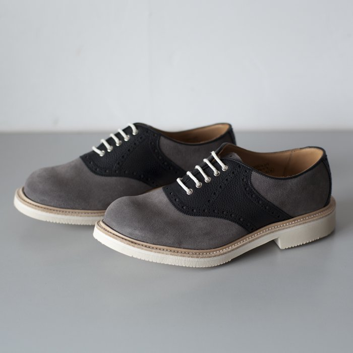 Quilp Shoes / M7607 Saddle Shoe / Grey Suede x Black Scotch Grain