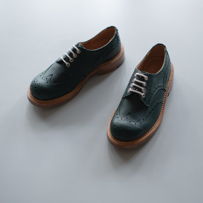 Quilp Shoes / M7457 Derby Brogue Shoe / Green Olivvia Grain