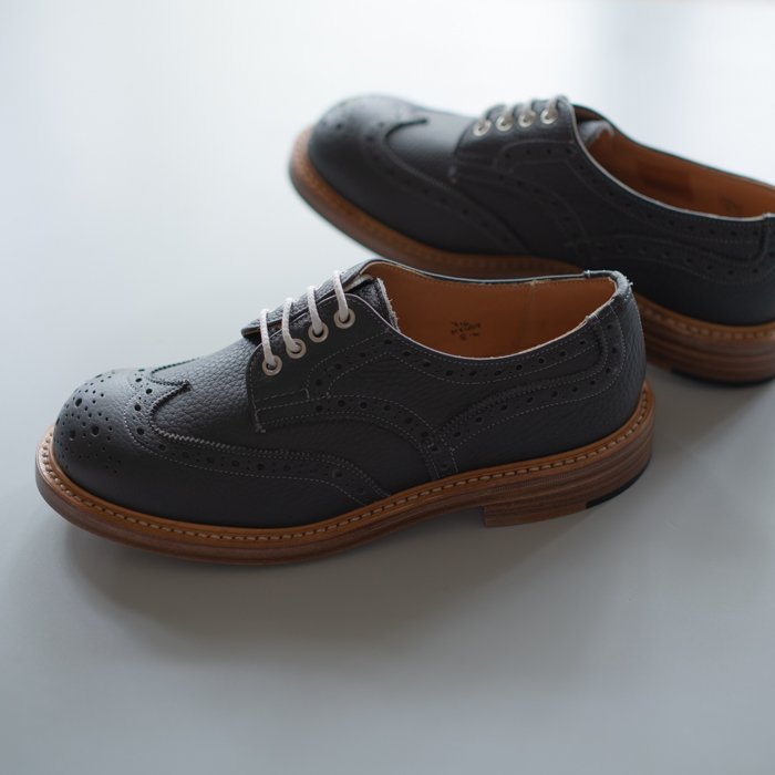 Quilp Shoes / M7457 Derby Brogue Shoe / Grey Odessa Grain