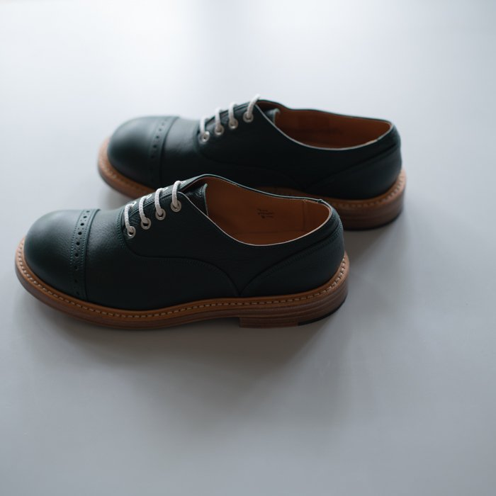 Quilp Shoes / M7401 Oxford Shoe / Green Olivvia Grain