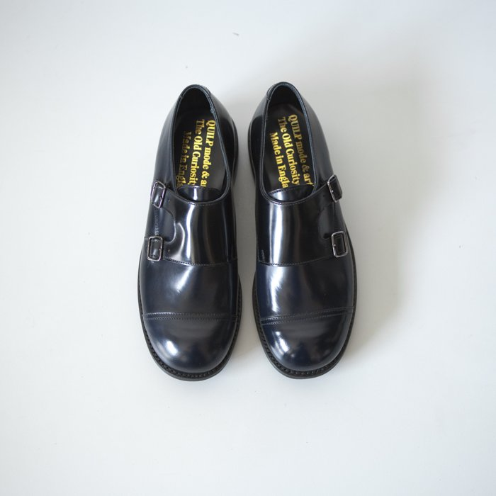 Double Monk Shoe / NAVY x BLACK / UK7.5 in stock
