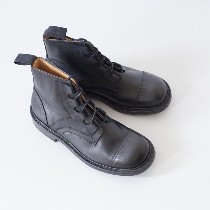 Quilp Shoes / M7579 Ghillie Boot / Black MC  x  Black Waxy , 2 Tone