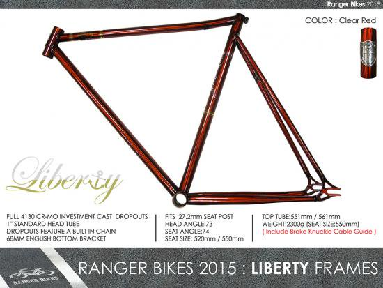 <img class='new_mark_img1' src='//img.shop-pro.jp/img/new/icons25.gif' style='border:none;display:inline;margin:0px;padding:0px;width:auto;' />RANGER BIKES LIBERTY FRAME+FORK+ALUM CNC HEAD SET