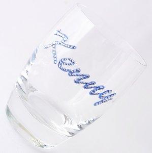 【タンブラー  ネームグラス サファイア】結婚祝い 誕生日 プレゼント ギフト スワロフスキー デコグラス