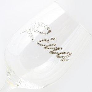 【白ワイングラス ネーム シルバー】結婚祝い 誕生日 プレゼント ギフト スワロフスキー デコグラス