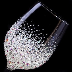 【赤ワイングラス バブルシャワー】結婚祝い 誕生日 プレゼント ギフト スワロフスキー デコグラス