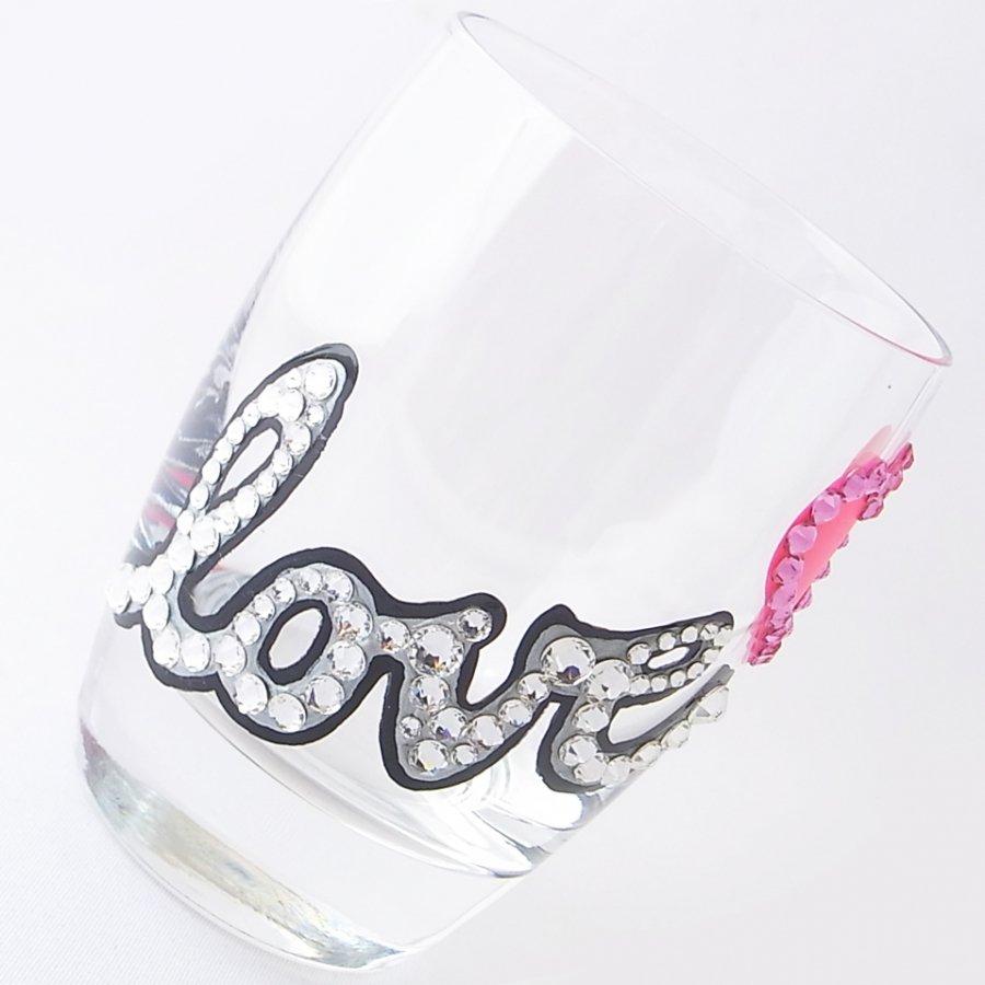 【タンブラー LOVE&HEART】 結婚祝い 誕生日 プレゼント ギフト スワロフスキー デコグラス