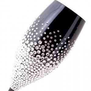 【ブラックシャンパングラス バブルシャワー】高級ギフトボックス付き 結婚祝い 誕生日 プレゼント ギフト スワロフスキー デコグラス