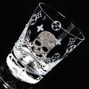 【ロックグラス スカル&花柄】高級ギフトボックス付き 結婚祝い 誕生日 プレゼント ギフト スワロフスキー デコグラス