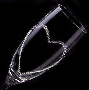 【シャンパングラス オープンハート】 高級ギフトボックス付き 結婚祝い 誕生日 プレゼント ギフト スワロフスキー デコグラス