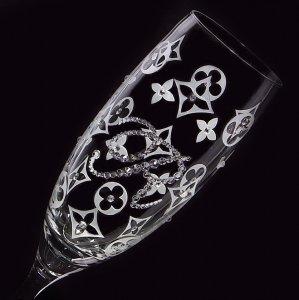 【シャンパングラス モノグラム&イニシャル】 結婚祝い 誕生日 プレゼント ギフト スワロフスキー デコグラス