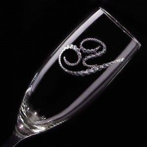 【シャンパングラス イニシャル】 結婚祝い 誕生日 プレゼント ギフト スワロフスキー デコグラス