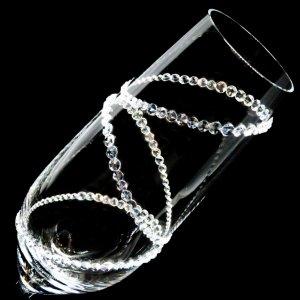 【シャンパングラス 3連リング】 結婚祝い 誕生日 プレゼント ギフト スワロフスキー デコグラス